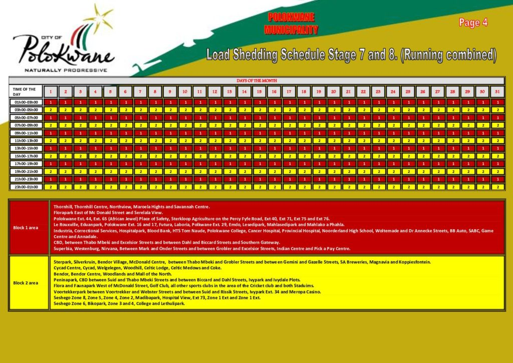 Load Shedding Schedule for Polokwane